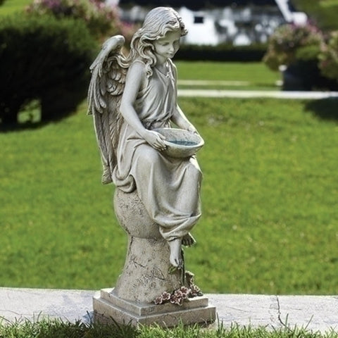 Seated Angel Solar Garden Statue 21 Inch Tall