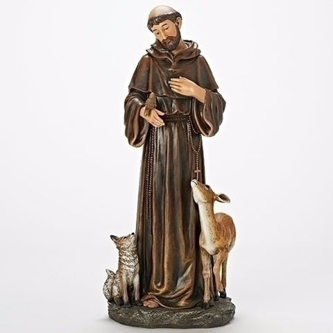 Saint Francis With Wolf And Deer Statue 18 Inch