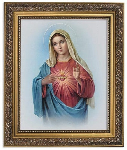 Immaculate Heart Of Mary Print In Ornate Frame