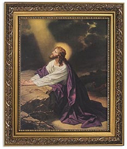 Jesus Praying At Gethsemane Print In Ornate Gold Frame