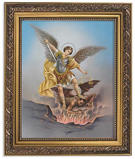 Saint Michael The Protector Print In Ornate Gold Frame