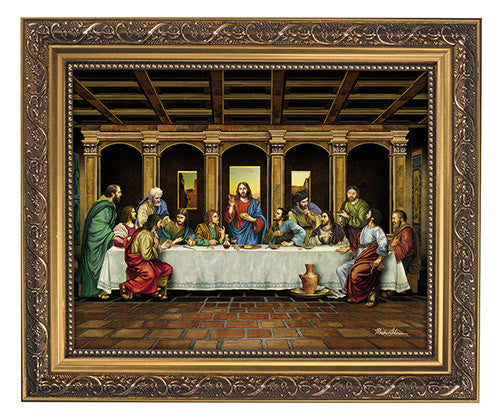 Last supper of Jesus print in frame