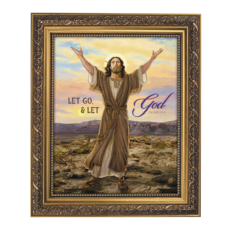 Let Go And Let God Inspirational Print In Ornate Frame