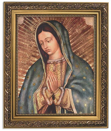 Our Lady Of Guadalupe Praying Catholic Print In Ornate Frame