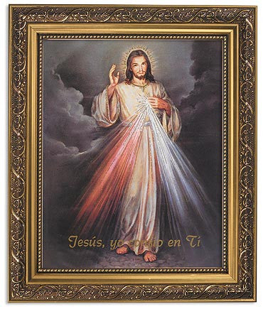 The Divine Of Jesus Spanish Print Ornate Gold Frame With Glass Jesus Misericordioso