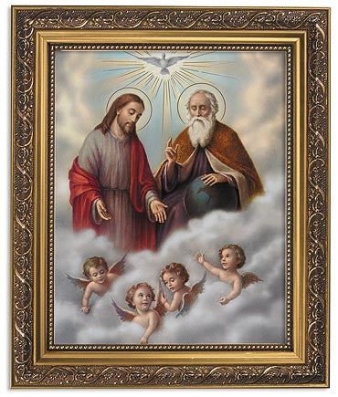 Holy Trinity God The Father Son And Holy Spirit Print In Ornate Gold Frame