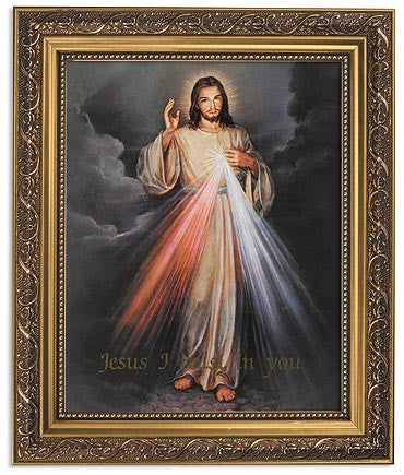 The Divine Of Jesus Print Ornate Gold Frame With Glass
