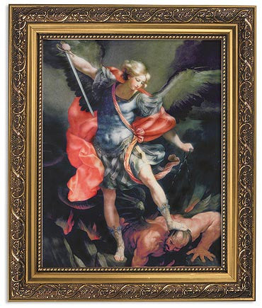 Saint Michael The Protector Print In Ornate Gold Frame By Artist Reni