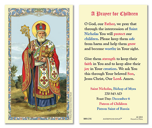 Saint Nicholas Santa Claus Laminated Prayer Cards Set of 25 Cards