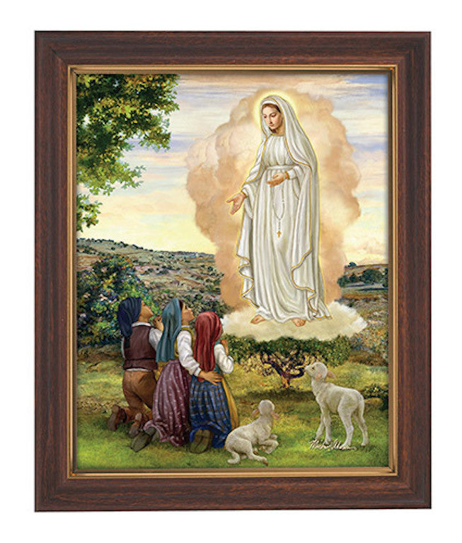 Our Lady Of Fatima Print with Glass In Wood Tone Frame With Glass