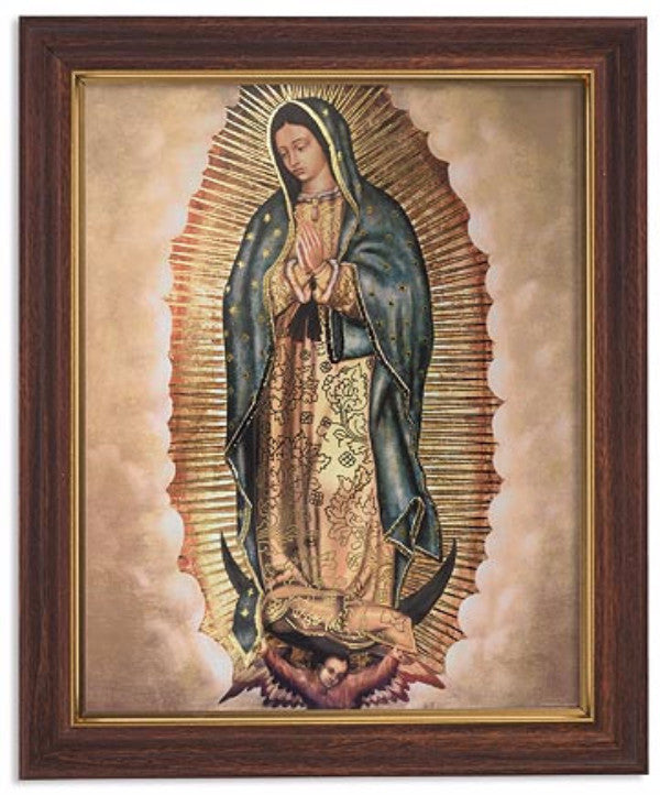 Praying Our Lady Of Guadalupe Print in Woodtone Frame