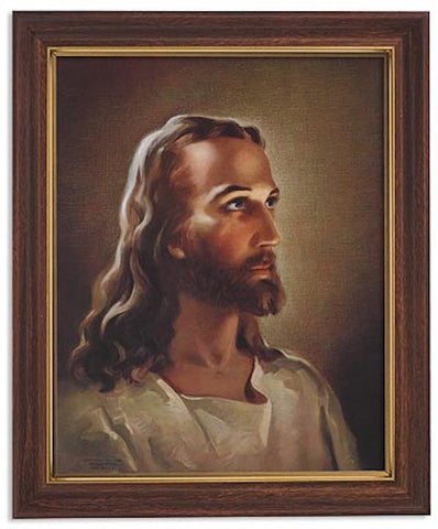 Head Of Jesus Print In Woodtone Frame With Glass By Sallman
