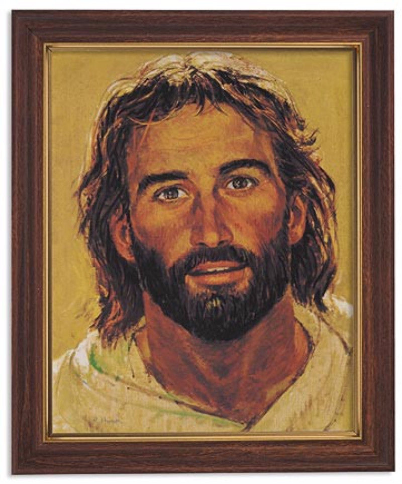 The Face Of Jesus Print By Artist Hook In Woodtone Frame With Glass