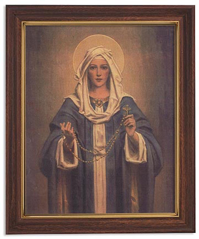Madonna Of The Rosary Print In Woodtone Frame By Artist CB Chambers