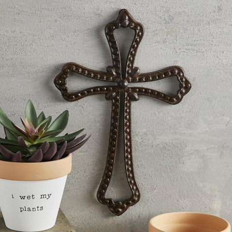 Cast Iron Vintage Style Wall Cross For Garden or Home
