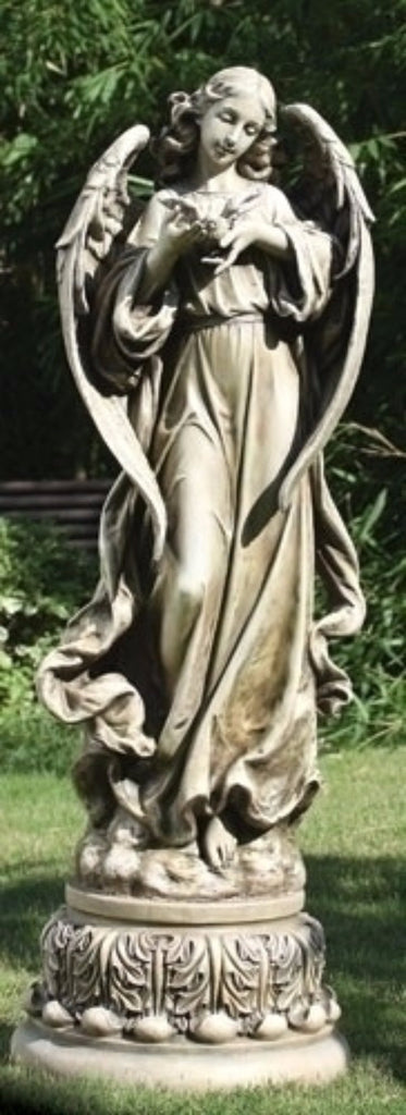 Angel With Dove On Pedestal Garden Statue Large Size 47 Tall