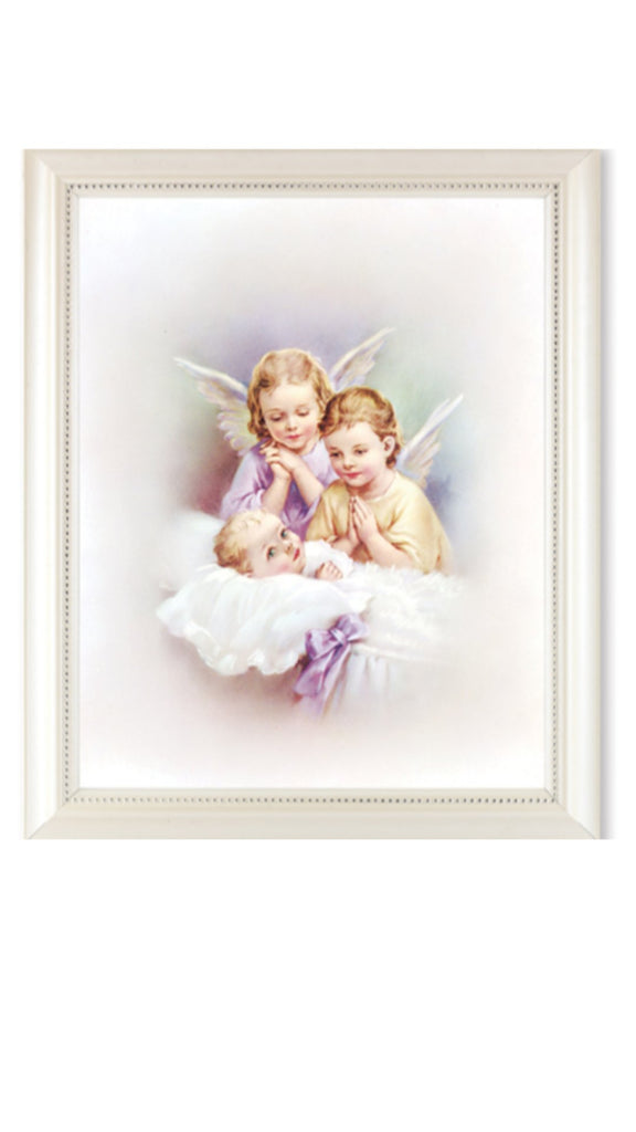 Guardian angels watching over baby print in pearl white frame