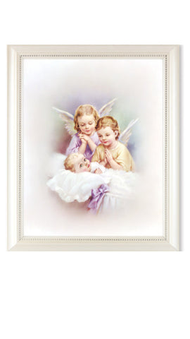 Guardian Angels Watching Over Baby Print In Pearl Frame With Glass