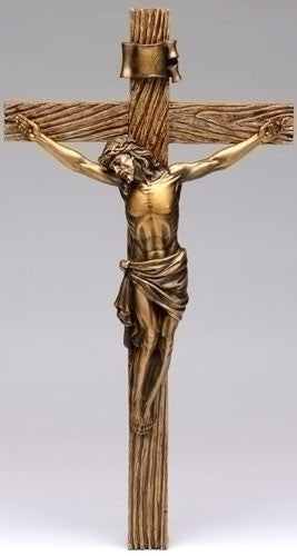 "Jesus Antique Style Gold Wall Crucifix   Large size 20"" Tall"