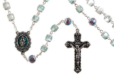 Miraculous Rosary Aqua Hand Painted Beads By Paola Carola