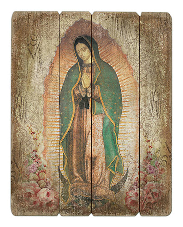 Madonna Our Lady of Guadalupe Wood Pallet Wall Plaque
