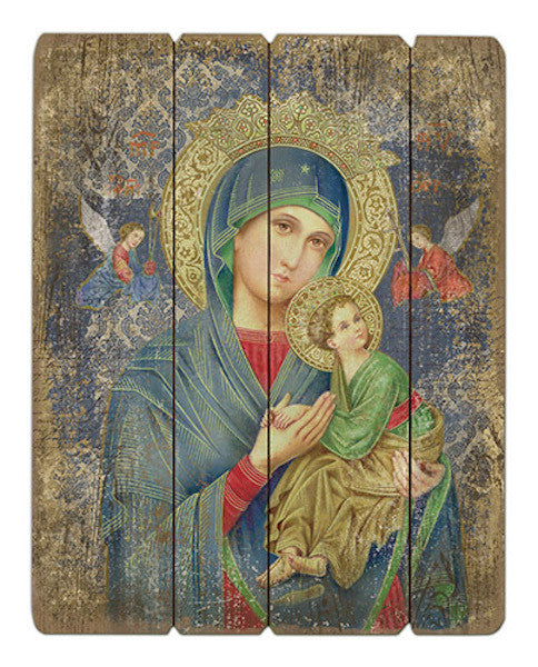 Madonna Our Lady of Perpetual Help Wood Pallet Wall Plaque