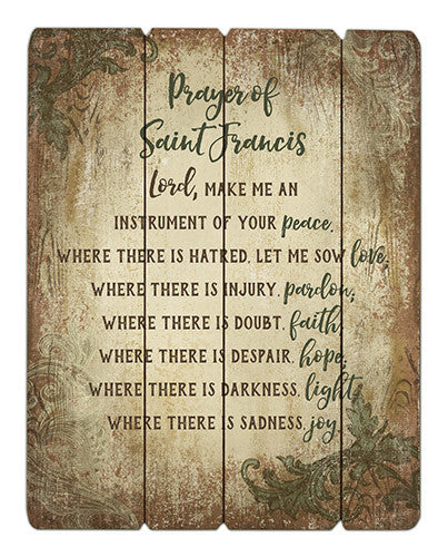 Prayer of Saint Francis Wooden Wall Plaque