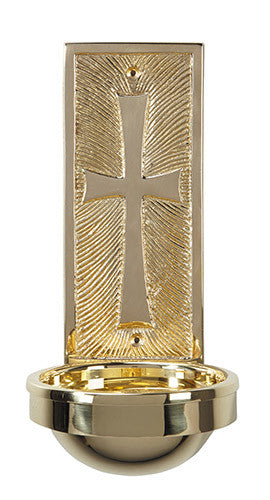 Brass Modern Style Cross Holy Water Font For Church or Chapel