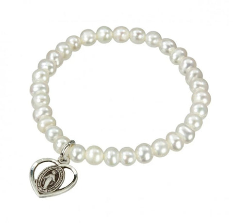 Freshwater Pearl Sterling Silver Heart First Communion Or Baptism Stretch Bracelet