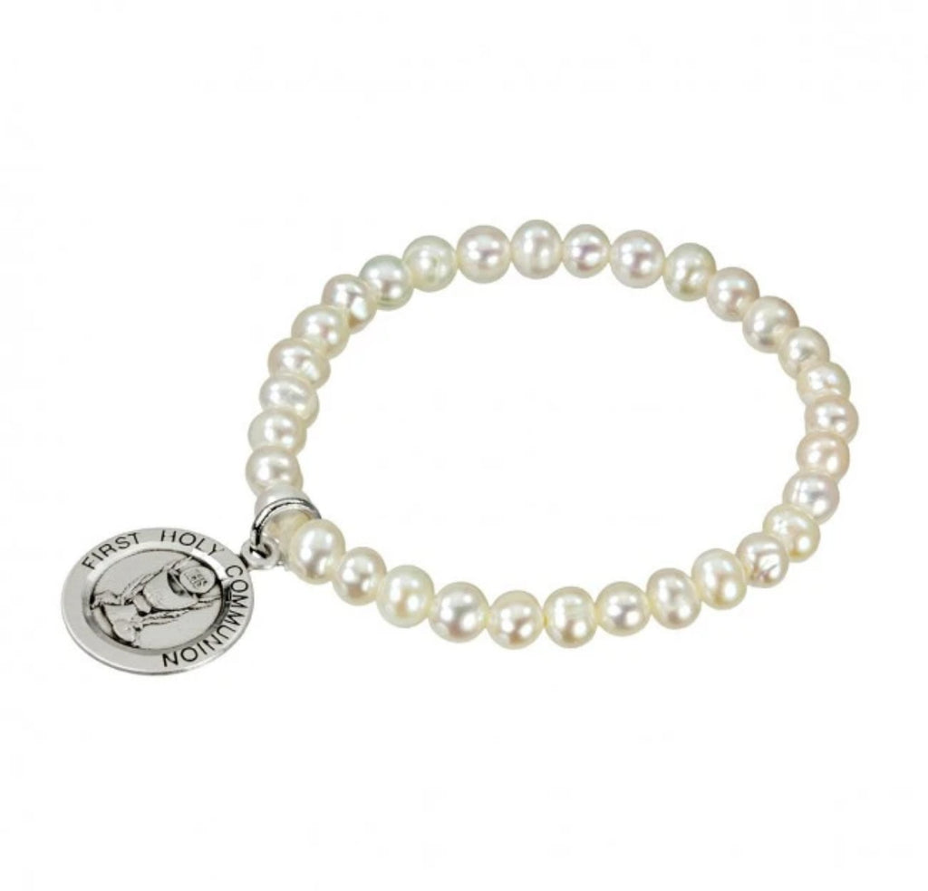 Freshwater Pearl Sterling Silver First Communion Stretch Bracelet