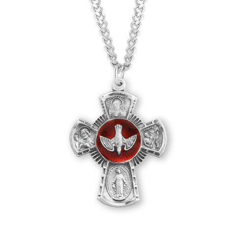 Sterling Silver Red Enameled 4-Way Medal On Chain