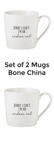 Sorry I Cant I Am An Indoor Cat Bone China Mugs Set of Two