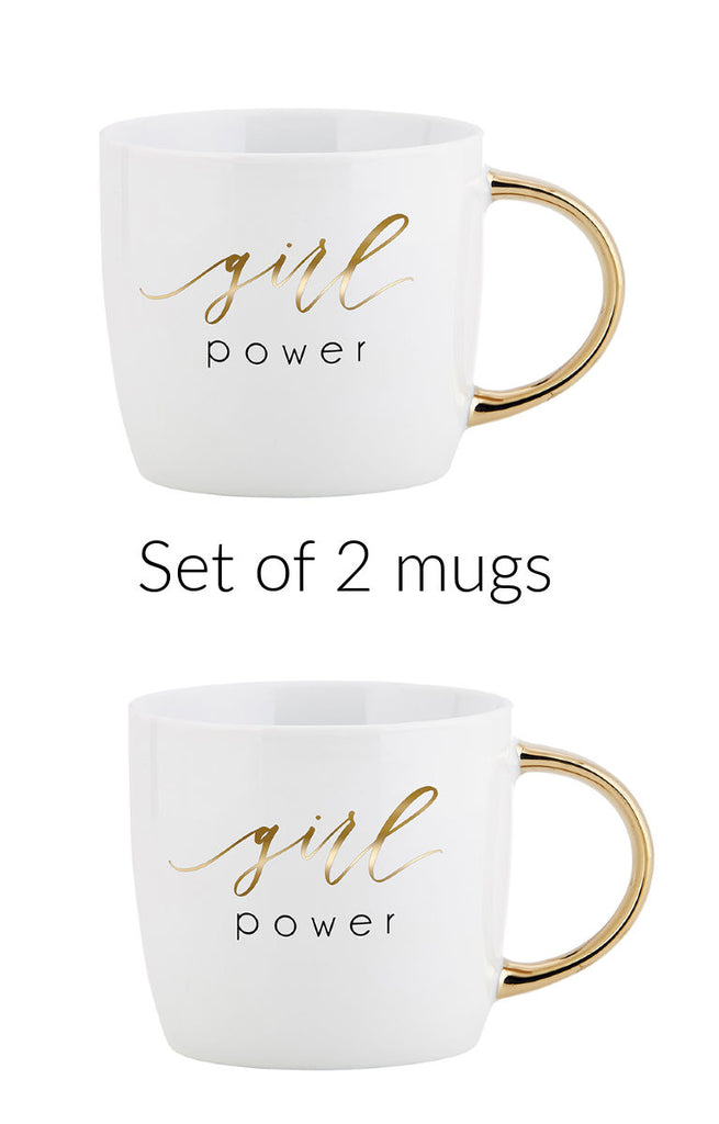 Set of 2 Girl Power Gold Handled Mugs
