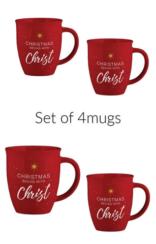 Christmas Begins with Christ Mug Set of 4 Mugs