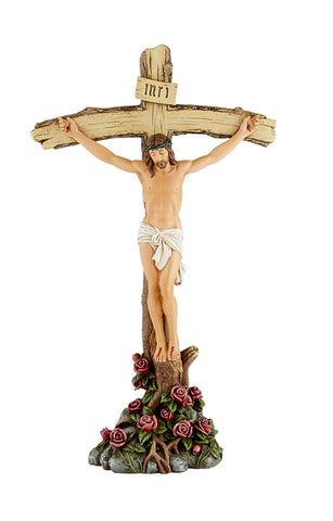Jesus Crucifix With Roses Standing Cross