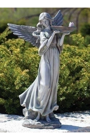 Angel With Birdbath And Butterfly Statue