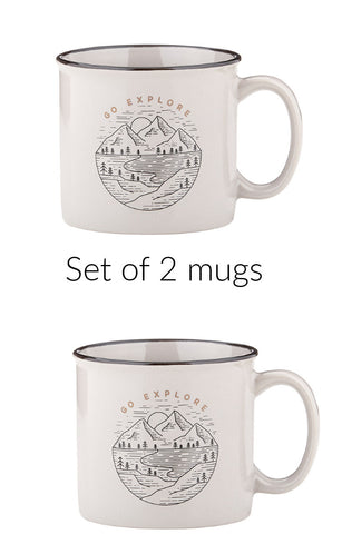 Go Explore Campfire Mug Set of 2