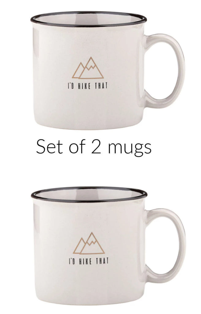 I'd Hike That campfire mugs set of 2