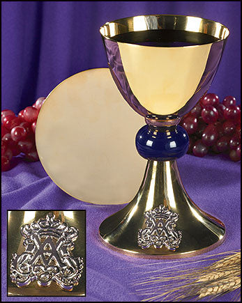 Blessed Mother Mary Chalice And Paten Communion Set