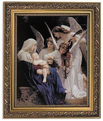 Song Of The Angels Framed Print By Artist Bouguereau In Ornate Gold Frame