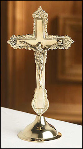 Ornate Brass Standing Altar Cross