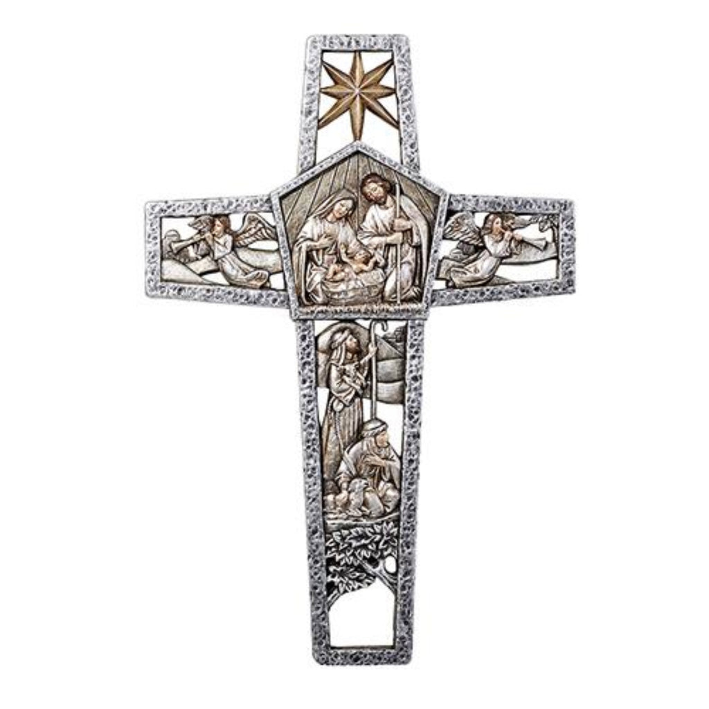 Ornate holy family nativity wall cross