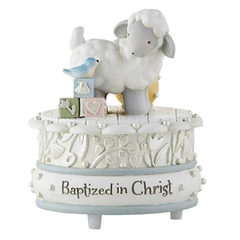 Sweet Lamb Baptized in Christ Musical Figurine