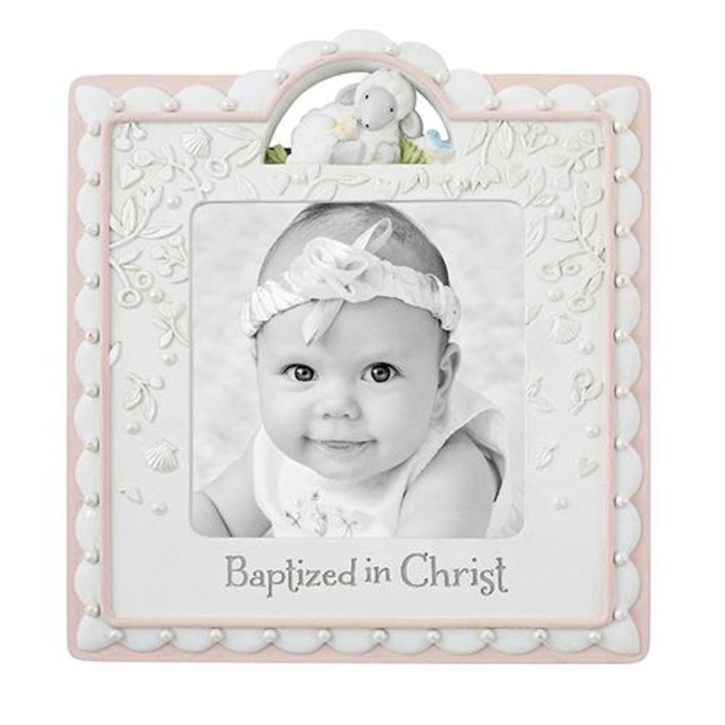 Baptised In Christ Photo frame pink and white