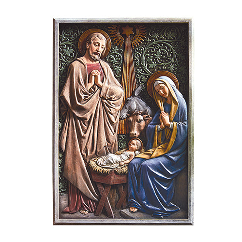 Nativity scene wall cross plaque