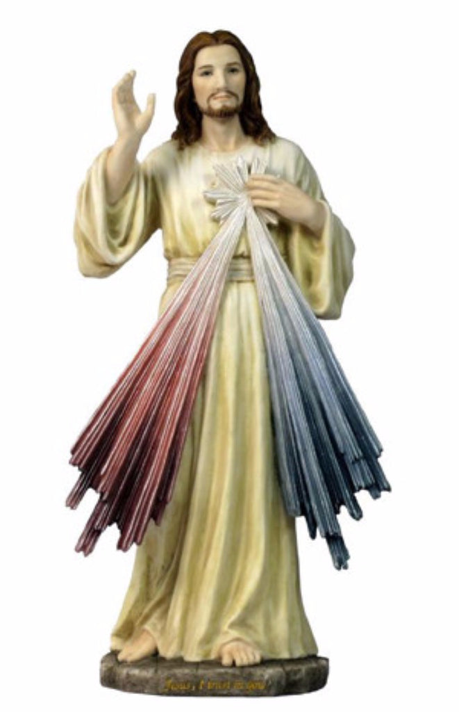 Divine Mercy of Jesus Statue Hand Painted Veronese Collection
