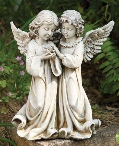 Double Angels With Bird Figure For Garden Or Home