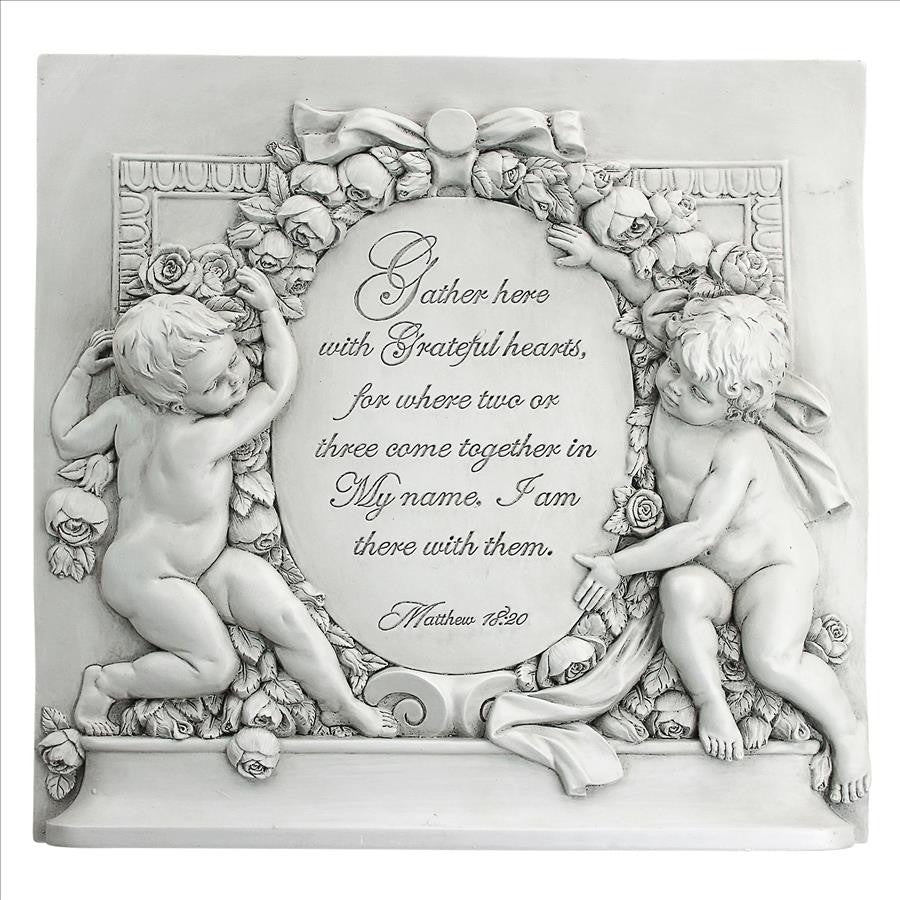 Grateful Hearts Cherub Wall Plaque