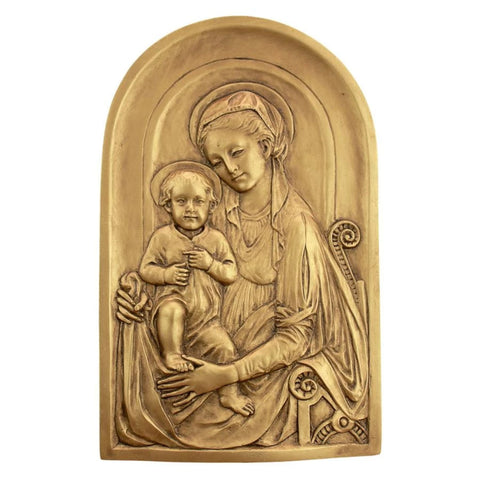 Mother Mary and Infant Jesus Ornate Wall Sculpture