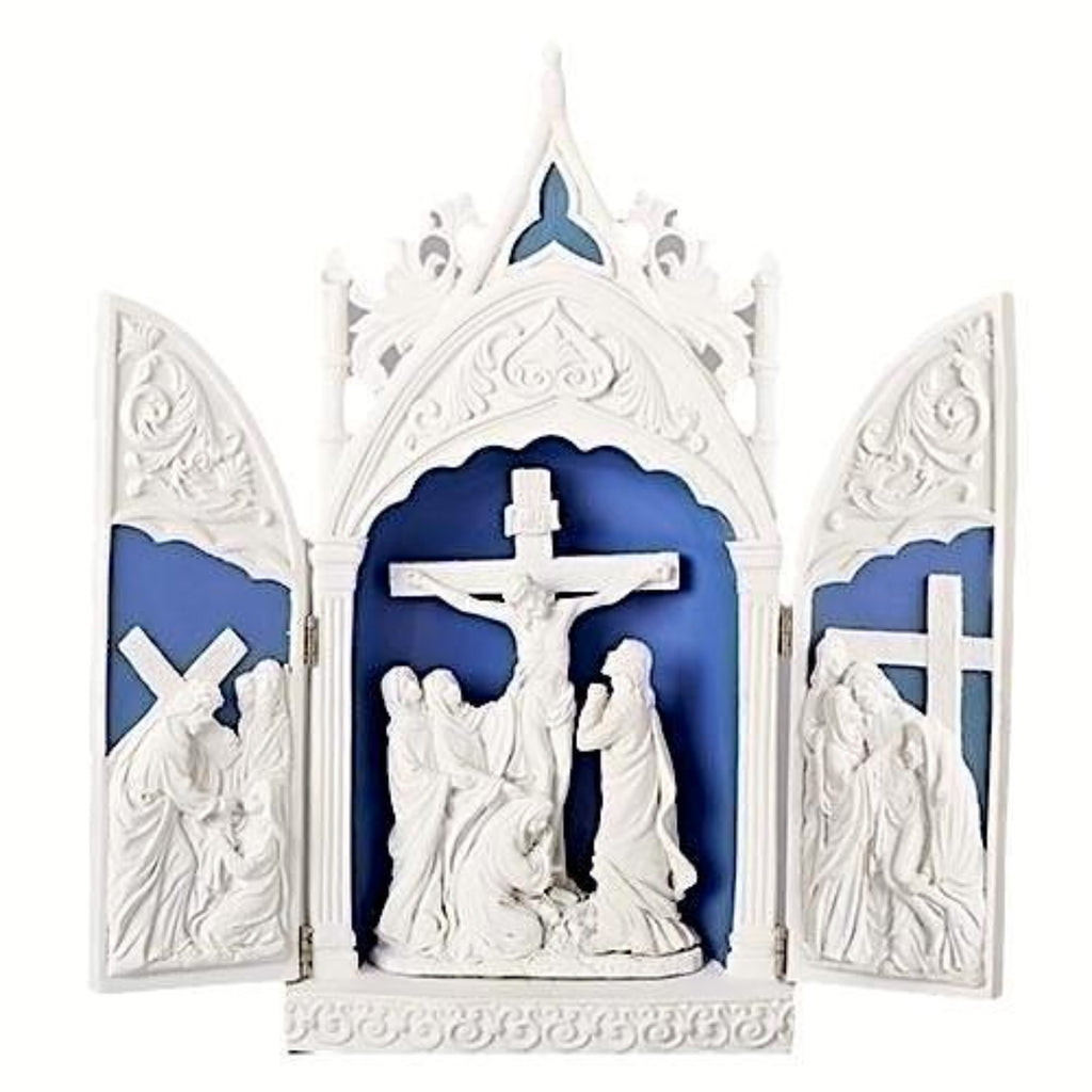 Crucifixion of Jesus Triptych Scene With Opening Doors Easter Gift